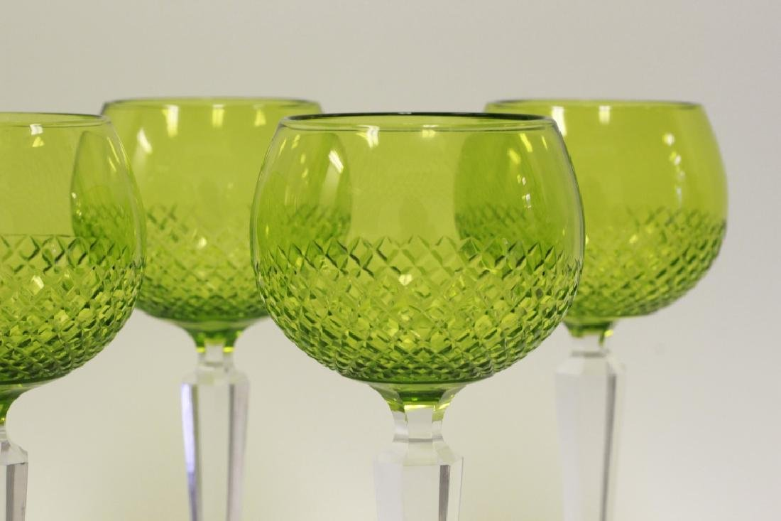 13 Cut Glass, Green & Clear Wine Glasses - 2