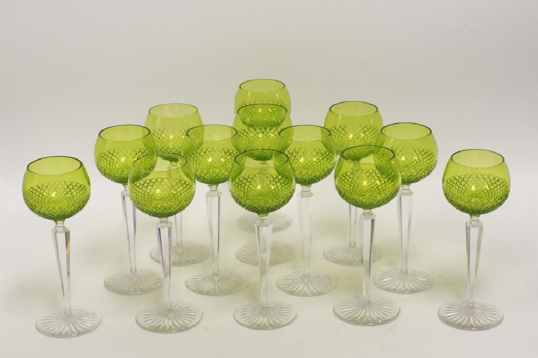 13 Cut Glass, Green & Clear Wine Glasses - 3