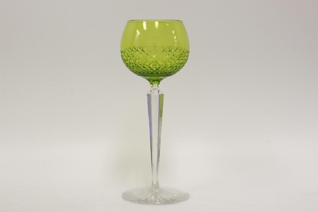 13 Cut Glass, Green & Clear Wine Glasses - 4