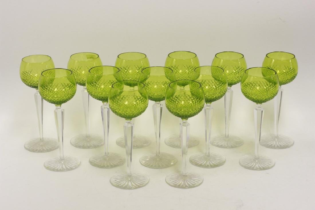 13 Cut Glass, Green & Clear Wine Glasses - 6