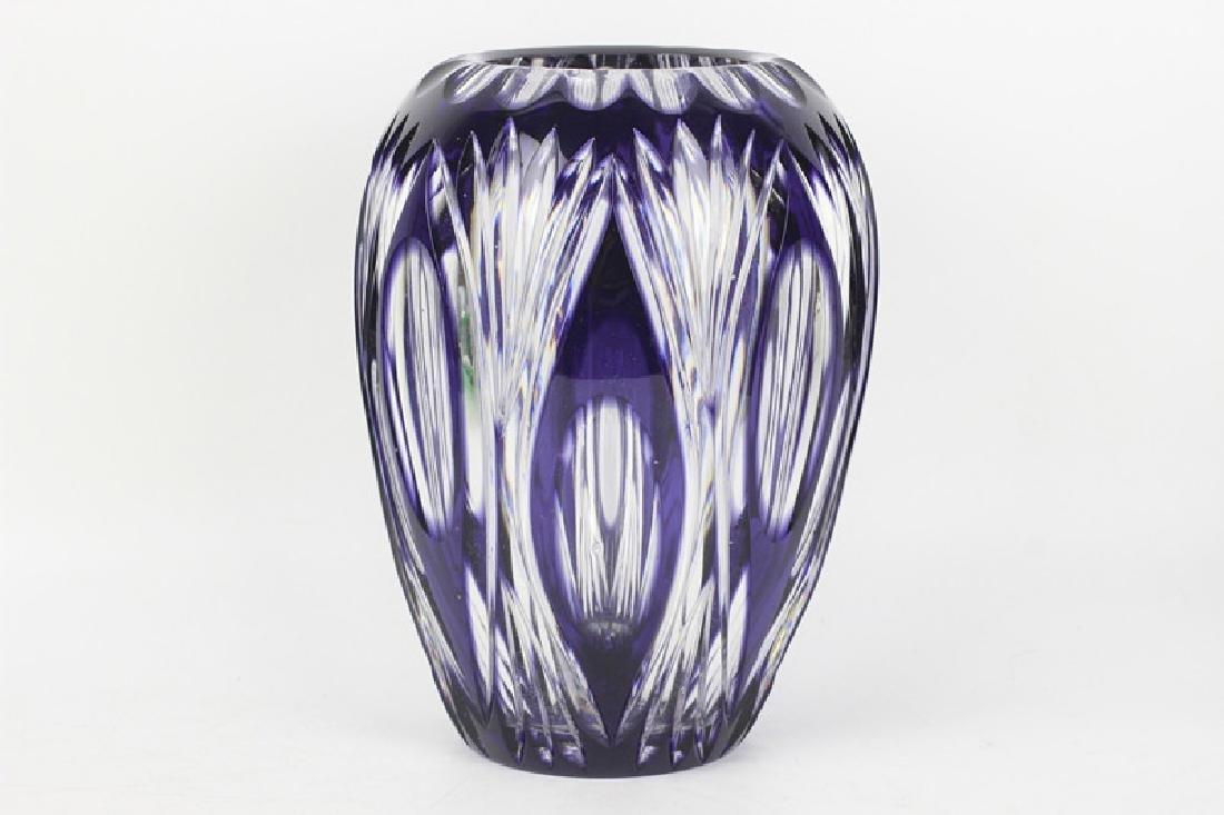 Val Saint Lambert Purple Overlay Cut Glass Vase