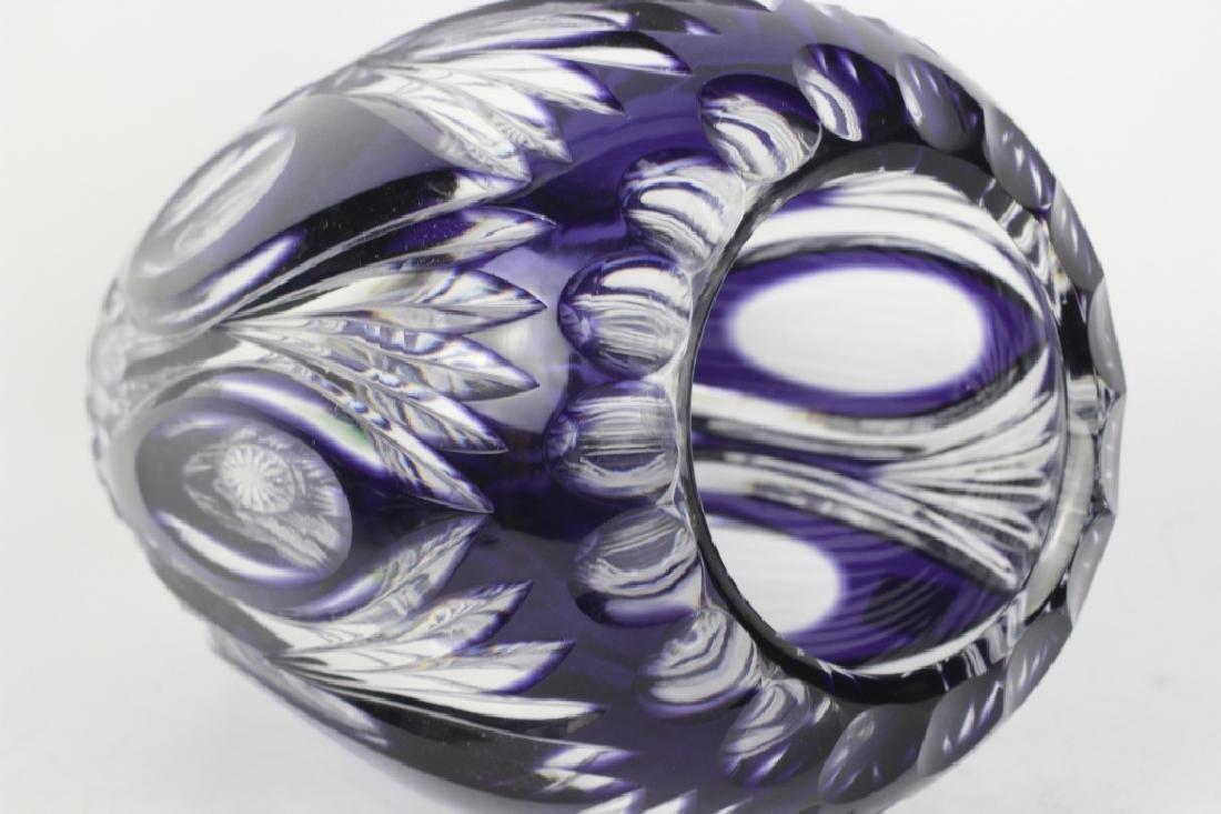 Val Saint Lambert Purple Overlay Cut Glass Vase - 3