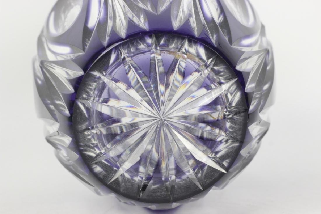 Val Saint Lambert Purple Overlay Cut Glass Vase - 4
