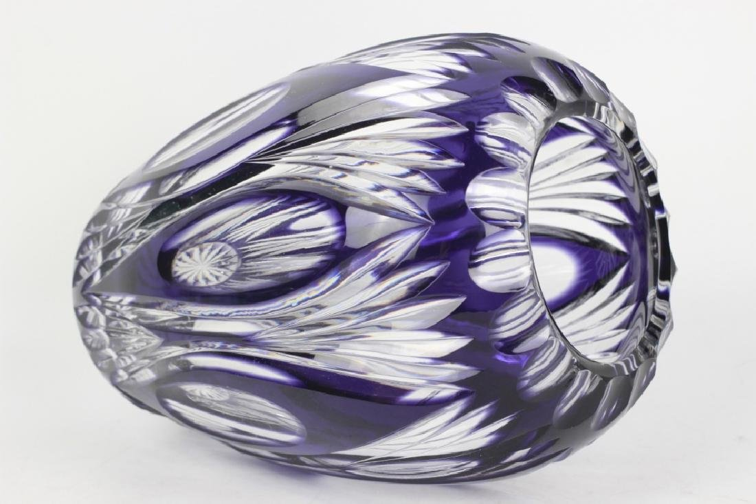 Val Saint Lambert Purple Overlay Cut Glass Vase - 5