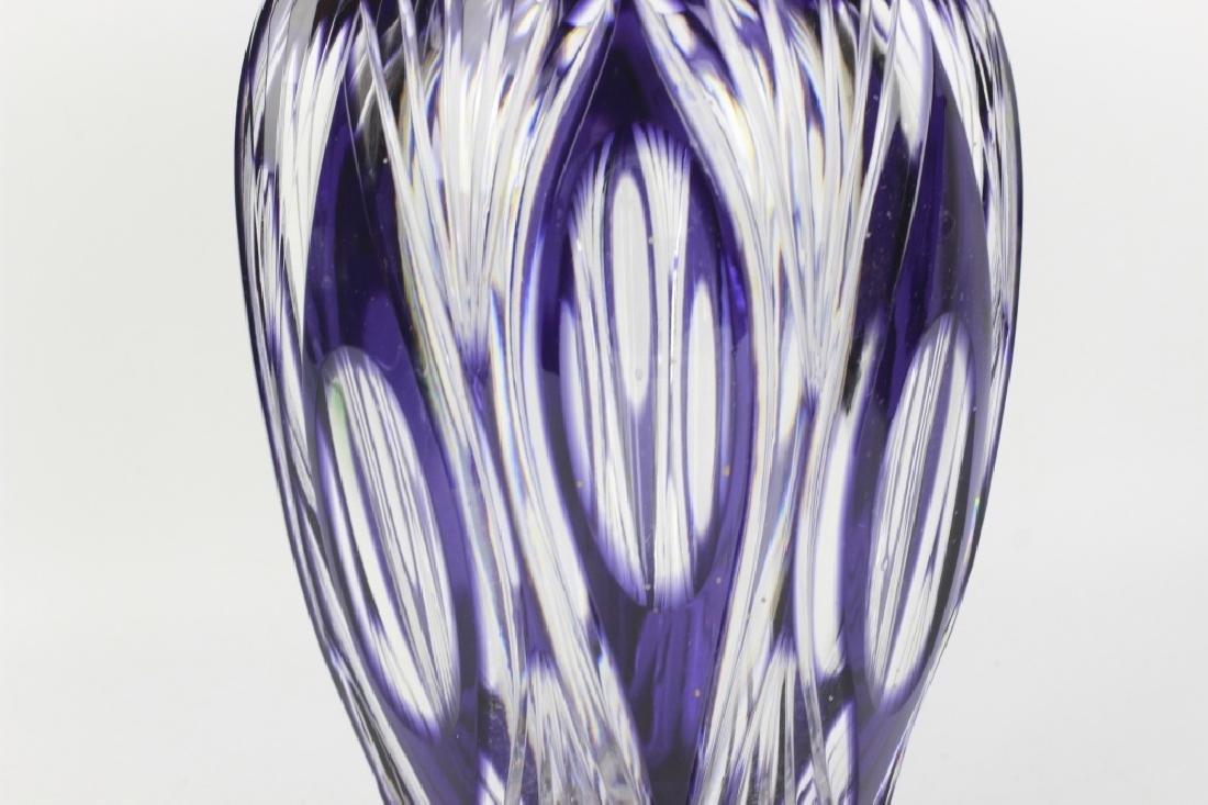 Val Saint Lambert Purple Overlay Cut Glass Vase - 7