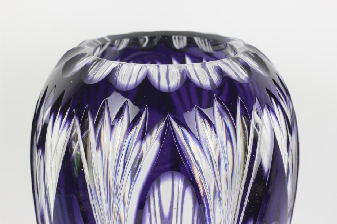 Val Saint Lambert Purple Overlay Cut Glass Vase - 9