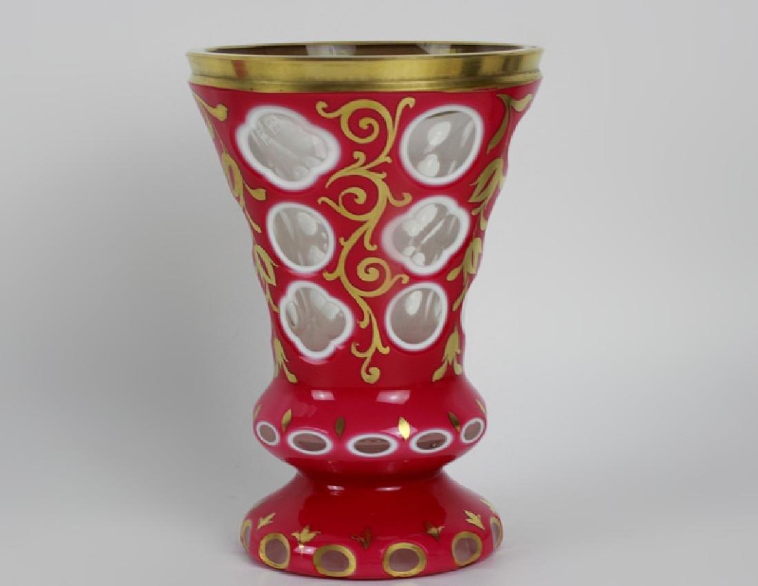 2 Bohemian Triple Overlay & Cut Glass Cups - 2
