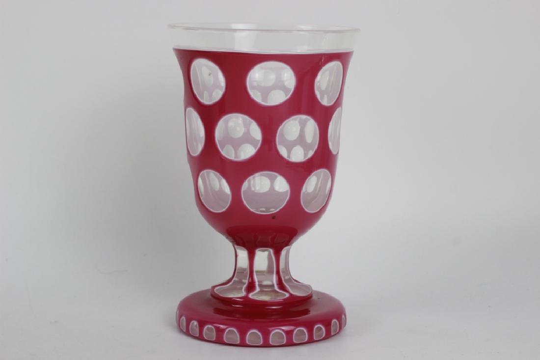 2 Bohemian Triple Overlay & Cut Glass Cups - 6