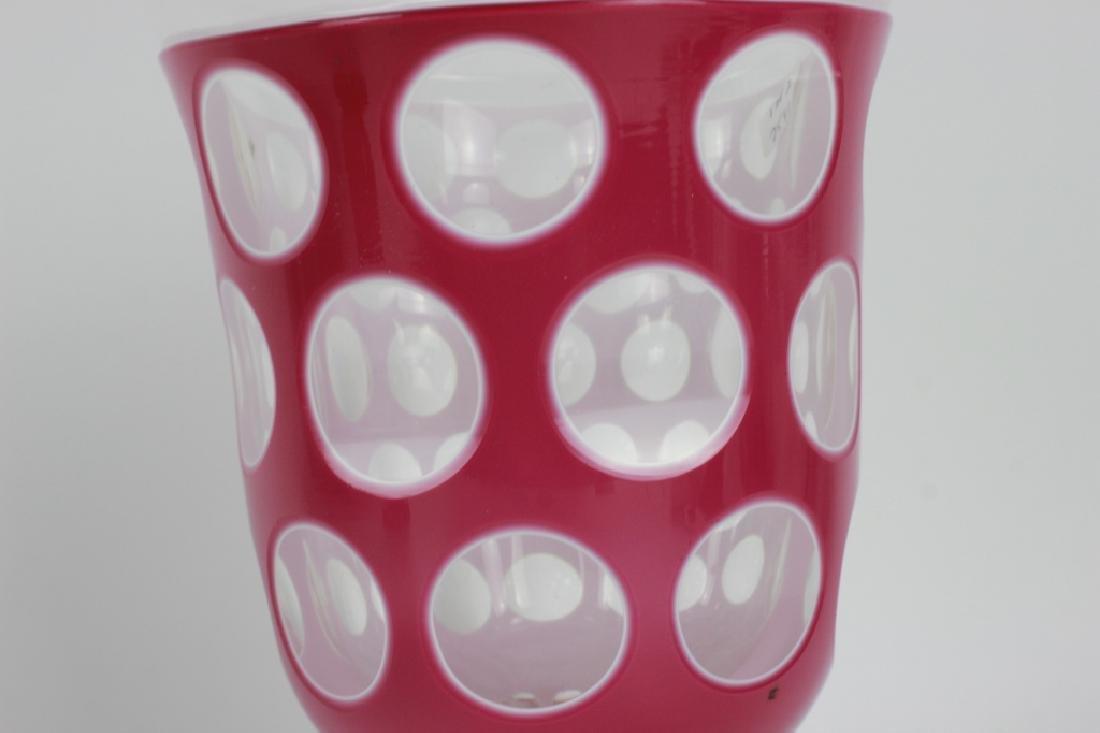 2 Bohemian Triple Overlay & Cut Glass Cups - 8