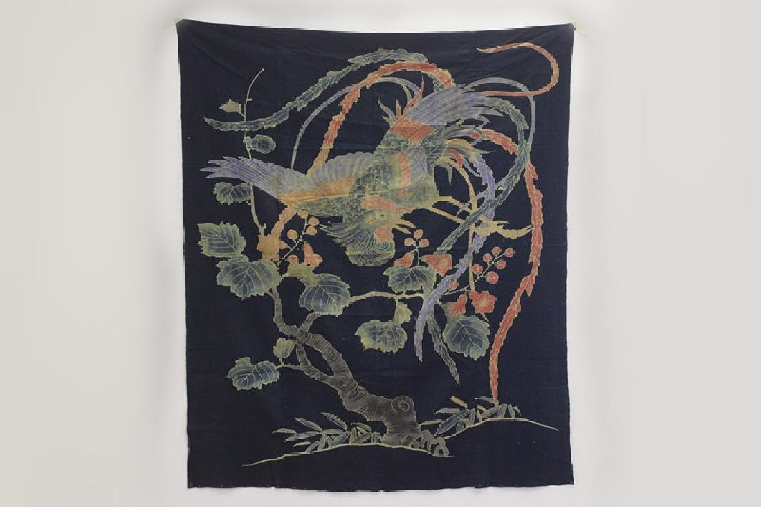 19thc Japanese Cotton Banner, Design of a Bird