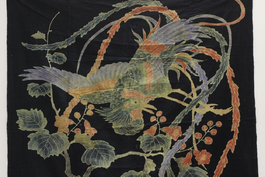 19thc Japanese Cotton Banner, Design of a Bird - 4