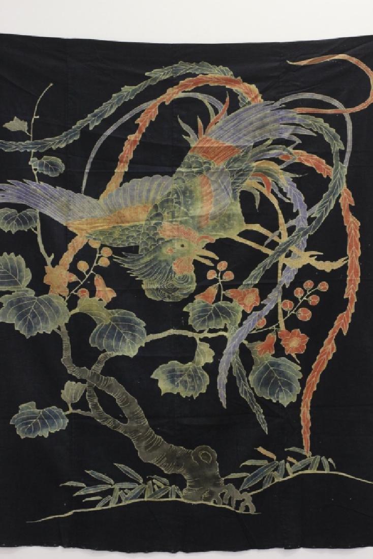 19thc Japanese Cotton Banner, Design of a Bird - 5