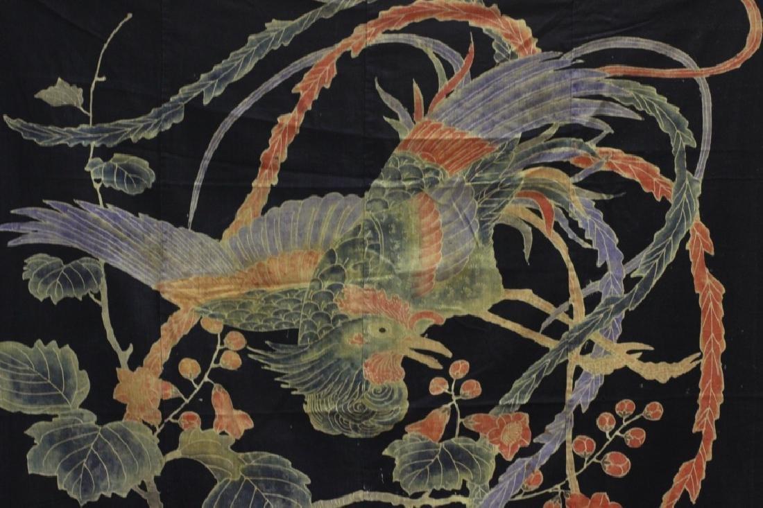 19thc Japanese Cotton Banner, Design of a Bird - 6