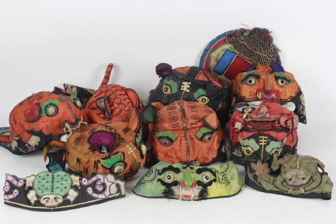 Rare Set of 10 Old Chinese Festival Hats