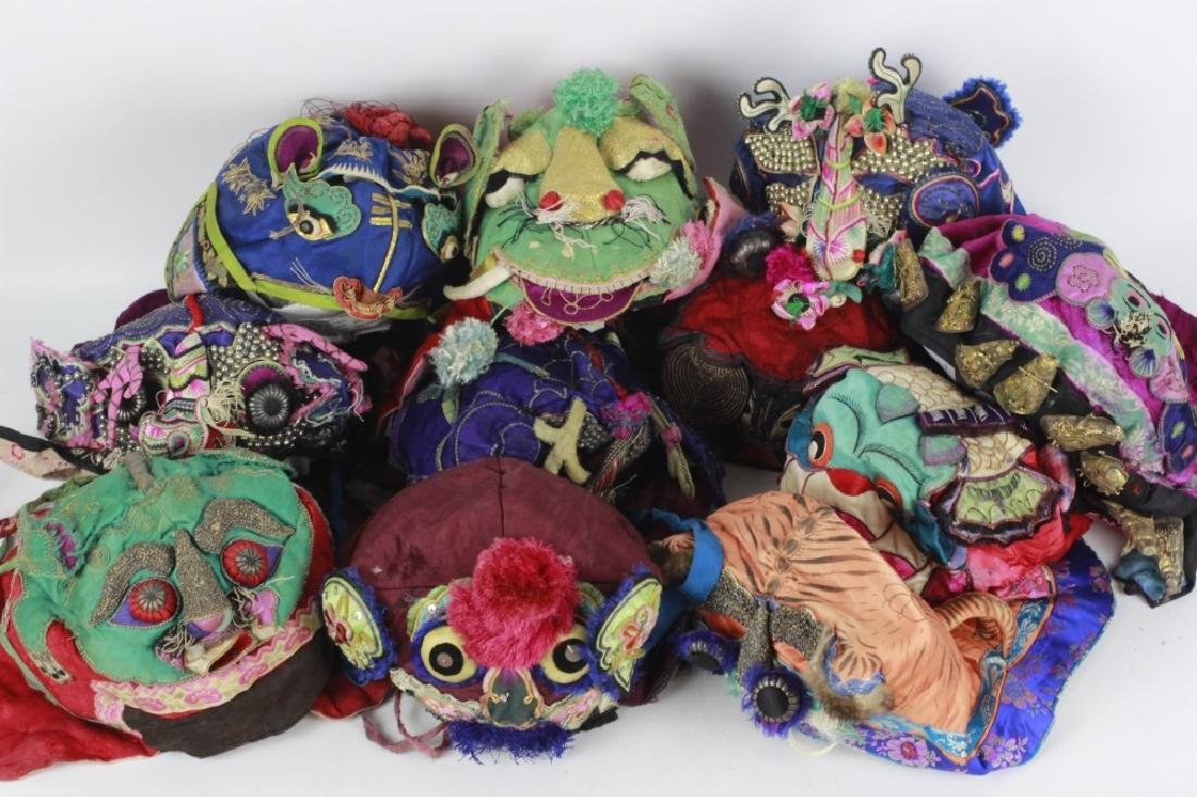 Rare Set of 11 Old Chinese Festival Hats