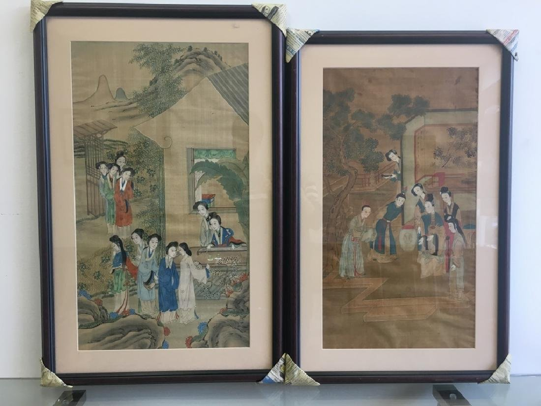 Pair of Hand Painted Chinese Paintings on Silk