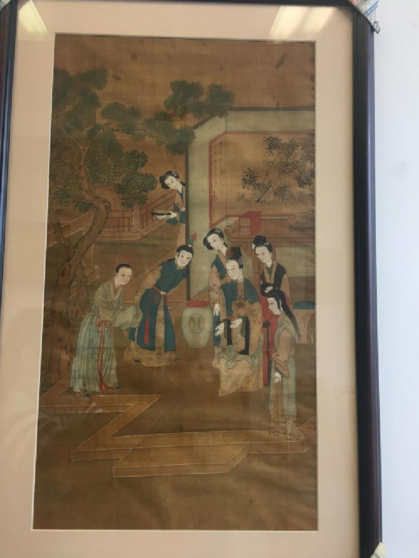 Pair of Hand Painted Chinese Paintings on Silk - 2