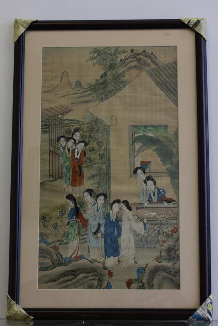 Pair of Hand Painted Chinese Paintings on Silk - 3