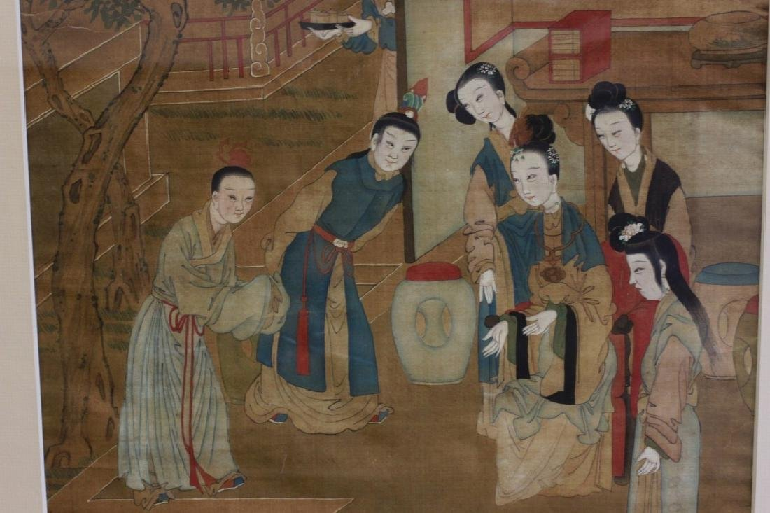 Pair of Hand Painted Chinese Paintings on Silk - 4
