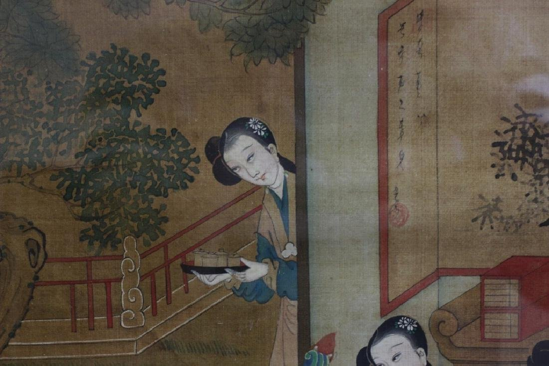 Pair of Hand Painted Chinese Paintings on Silk - 5