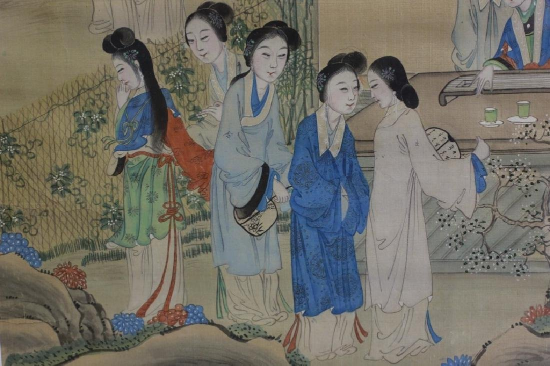 Pair of Hand Painted Chinese Paintings on Silk - 8