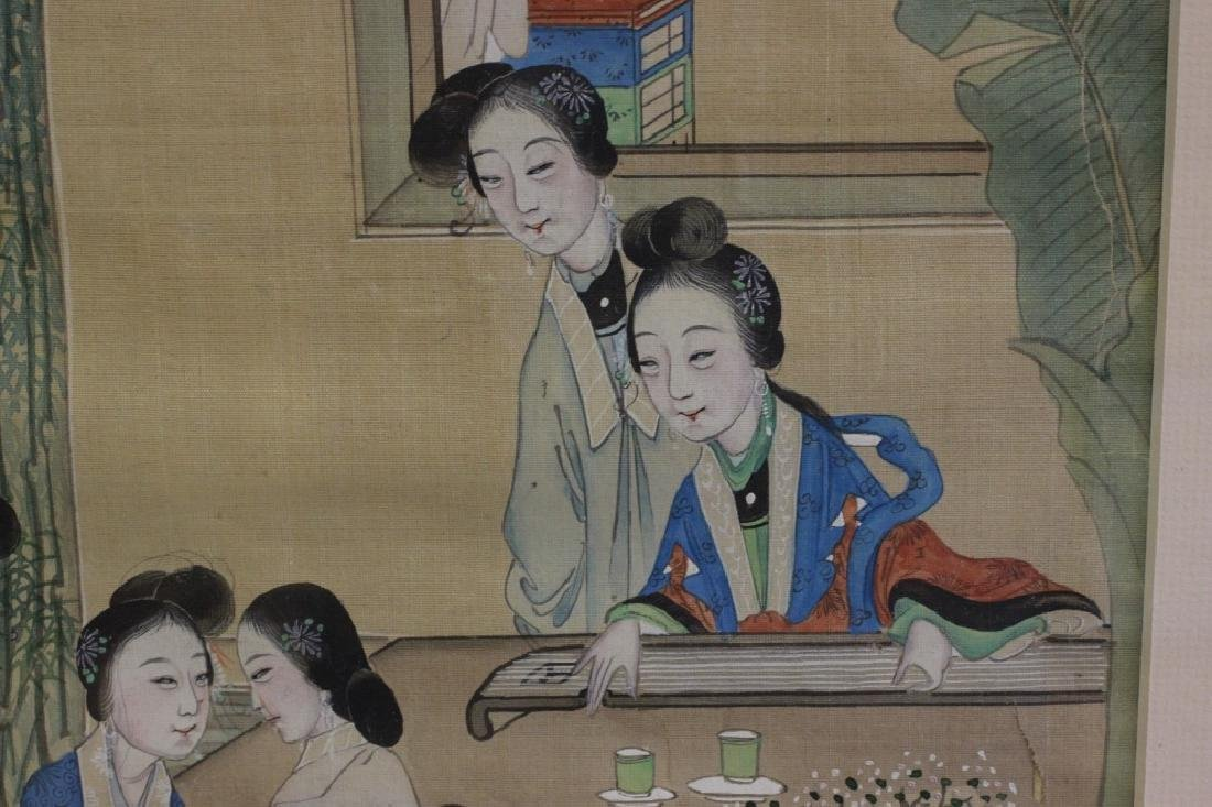 Pair of Hand Painted Chinese Paintings on Silk - 9