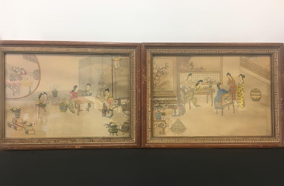 2 Chinese Paintings,  Framed