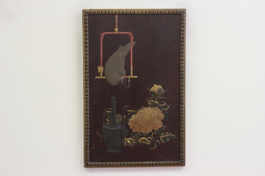 19thc Rare Japanese Lacquer Plaque, Meiji Period,