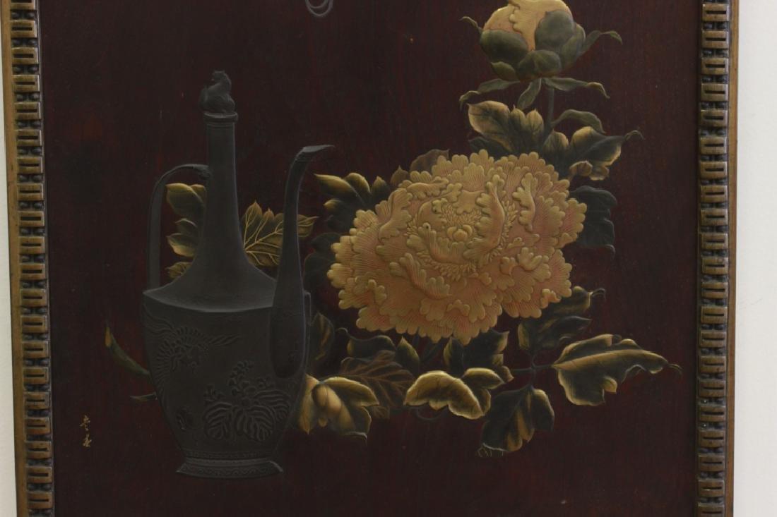 19thc Rare Japanese Lacquer Plaque, Meiji Period, - 3