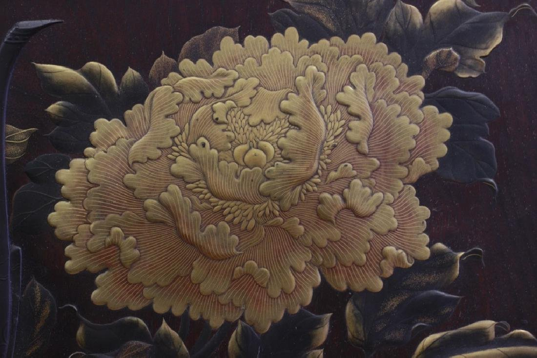 19thc Rare Japanese Lacquer Plaque, Meiji Period, - 4