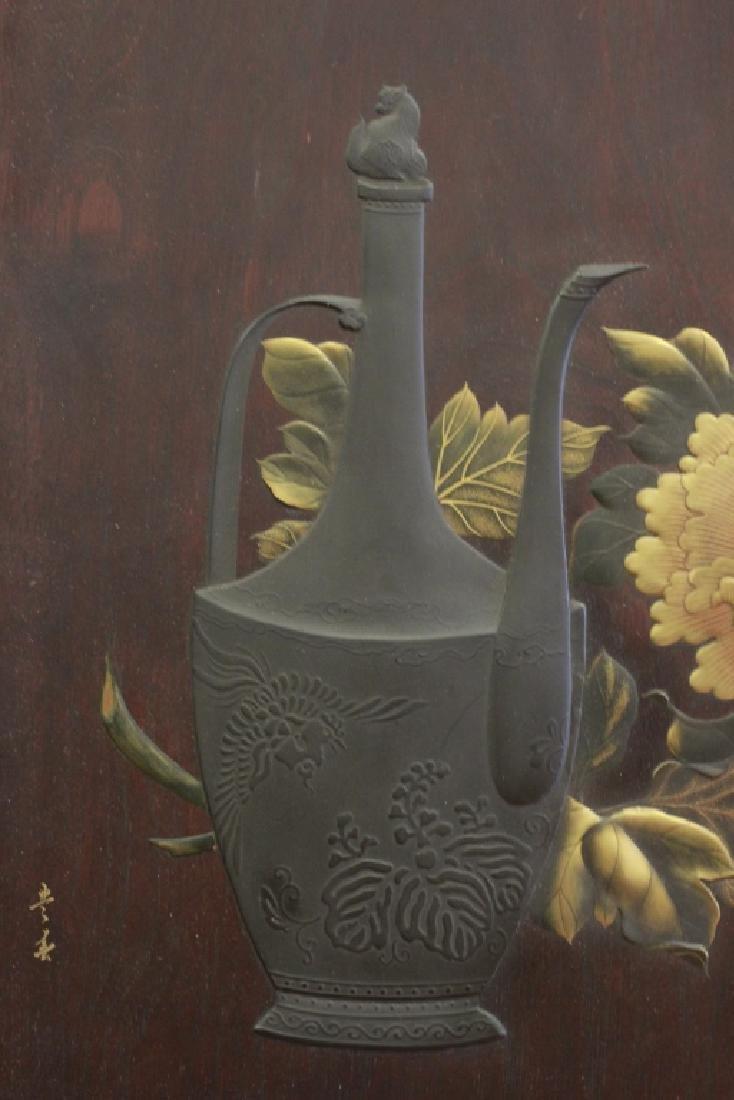 19thc Rare Japanese Lacquer Plaque, Meiji Period, - 5
