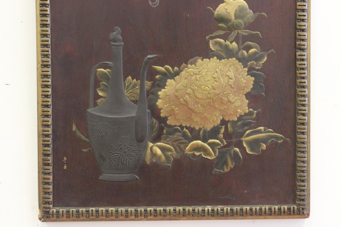 19thc Rare Japanese Lacquer Plaque, Meiji Period, - 8