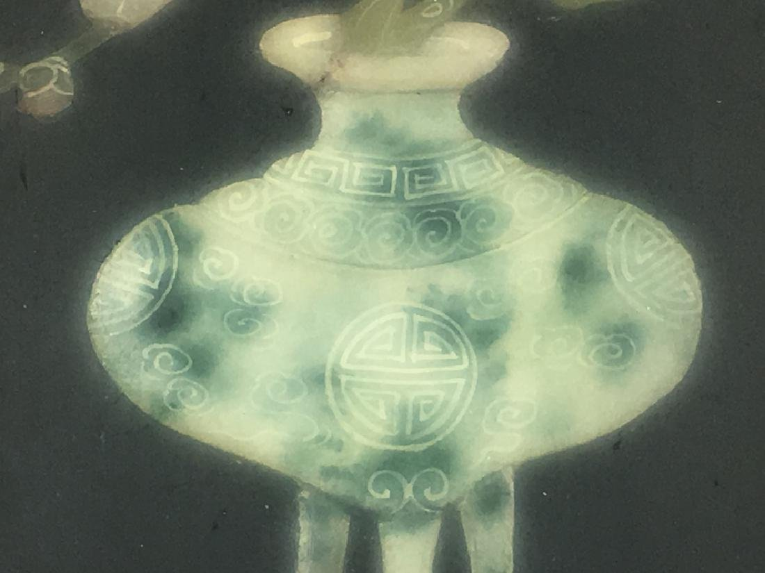 Pair of Gilt Framed Mounted Jade Urns w/ Flowers - 10
