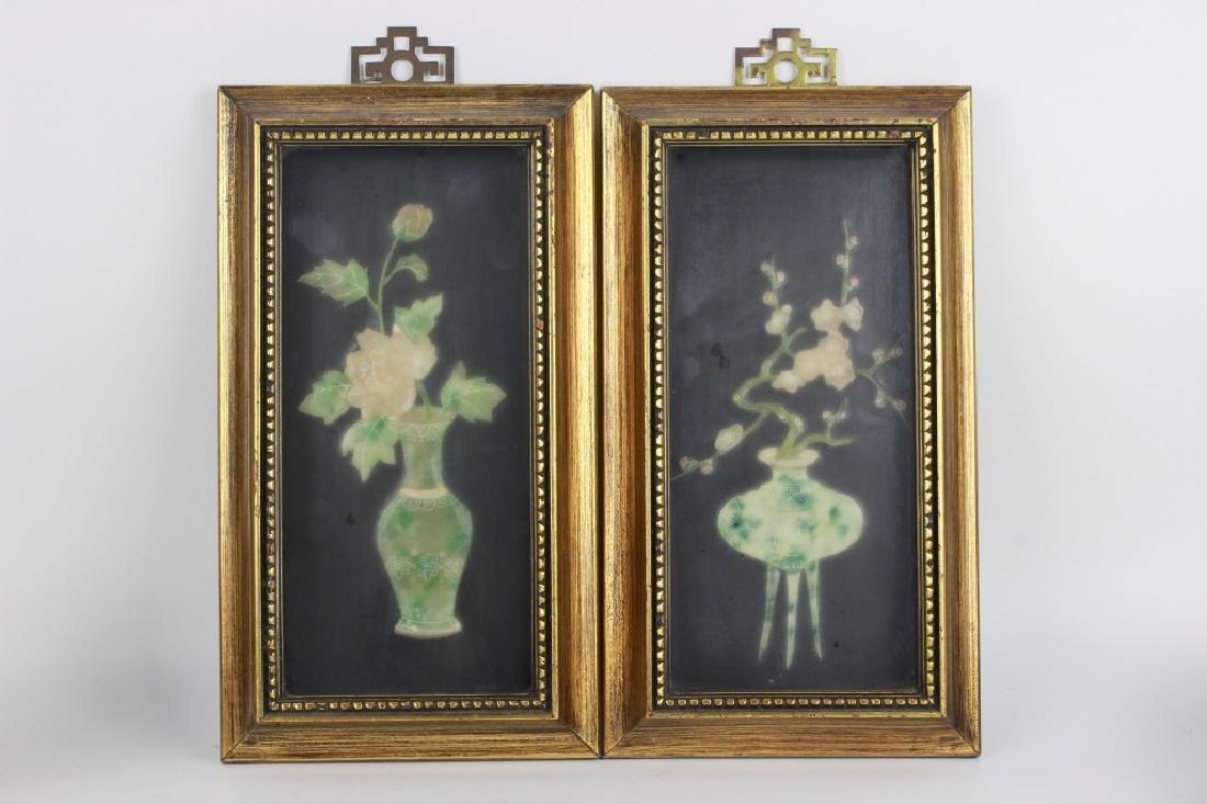 Pair of Gilt Framed Mounted Jade Urns w/ Flowers