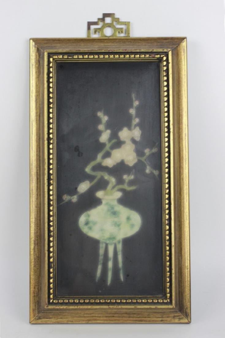 Pair of Gilt Framed Mounted Jade Urns w/ Flowers - 2