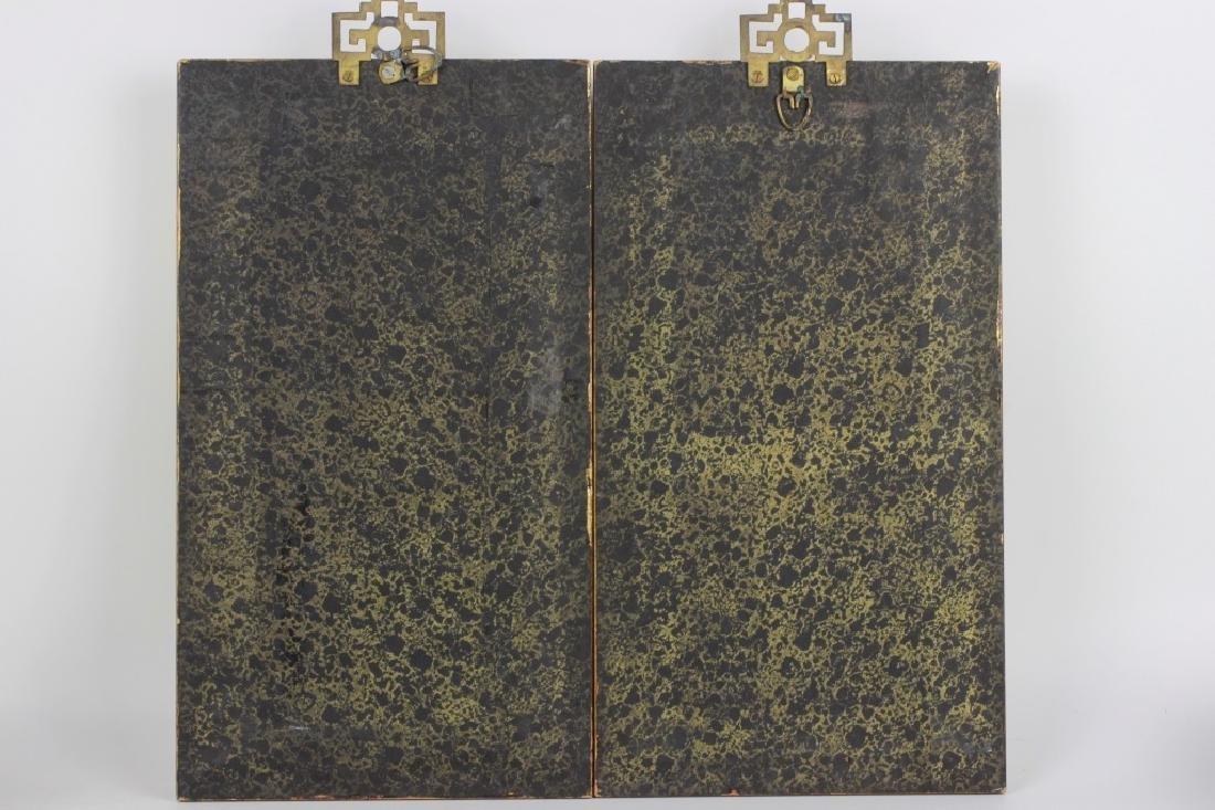 Pair of Gilt Framed Mounted Jade Urns w/ Flowers - 3