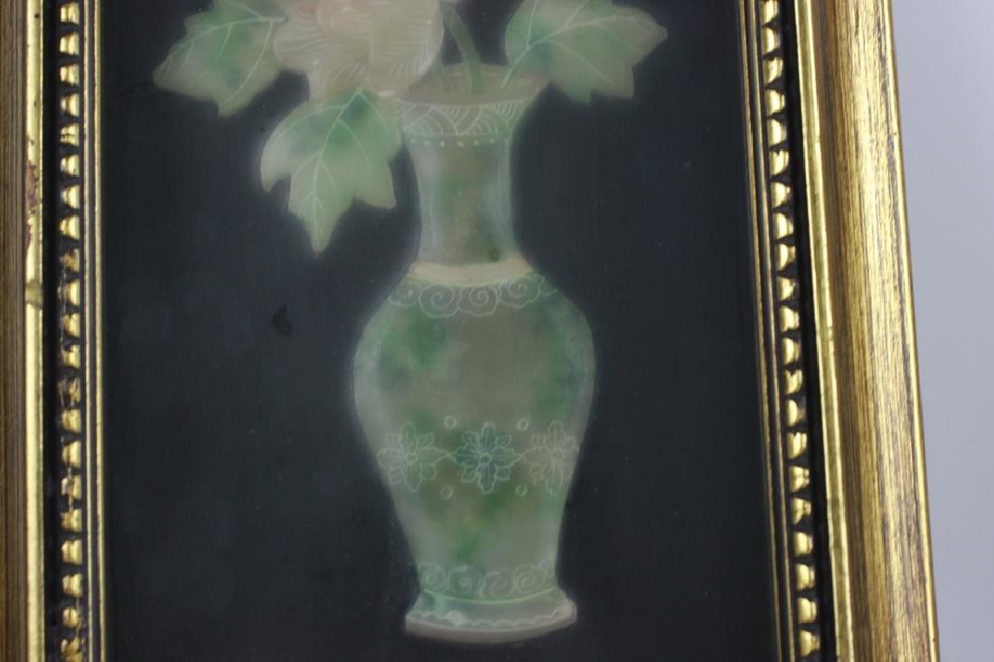 Pair of Gilt Framed Mounted Jade Urns w/ Flowers - 4