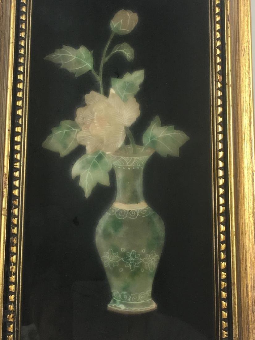 Pair of Gilt Framed Mounted Jade Urns w/ Flowers - 5
