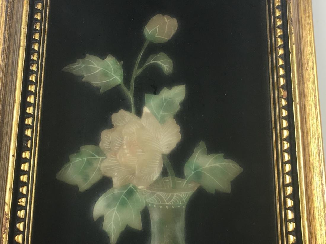 Pair of Gilt Framed Mounted Jade Urns w/ Flowers - 6