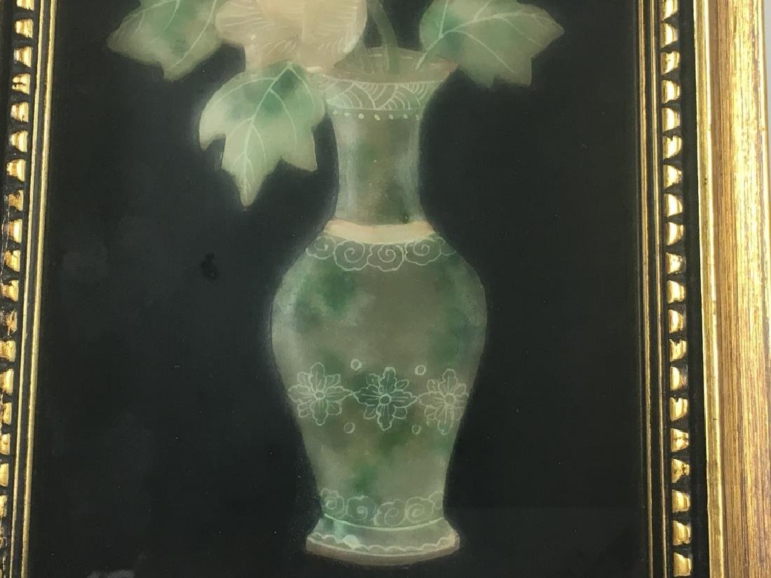 Pair of Gilt Framed Mounted Jade Urns w/ Flowers - 7