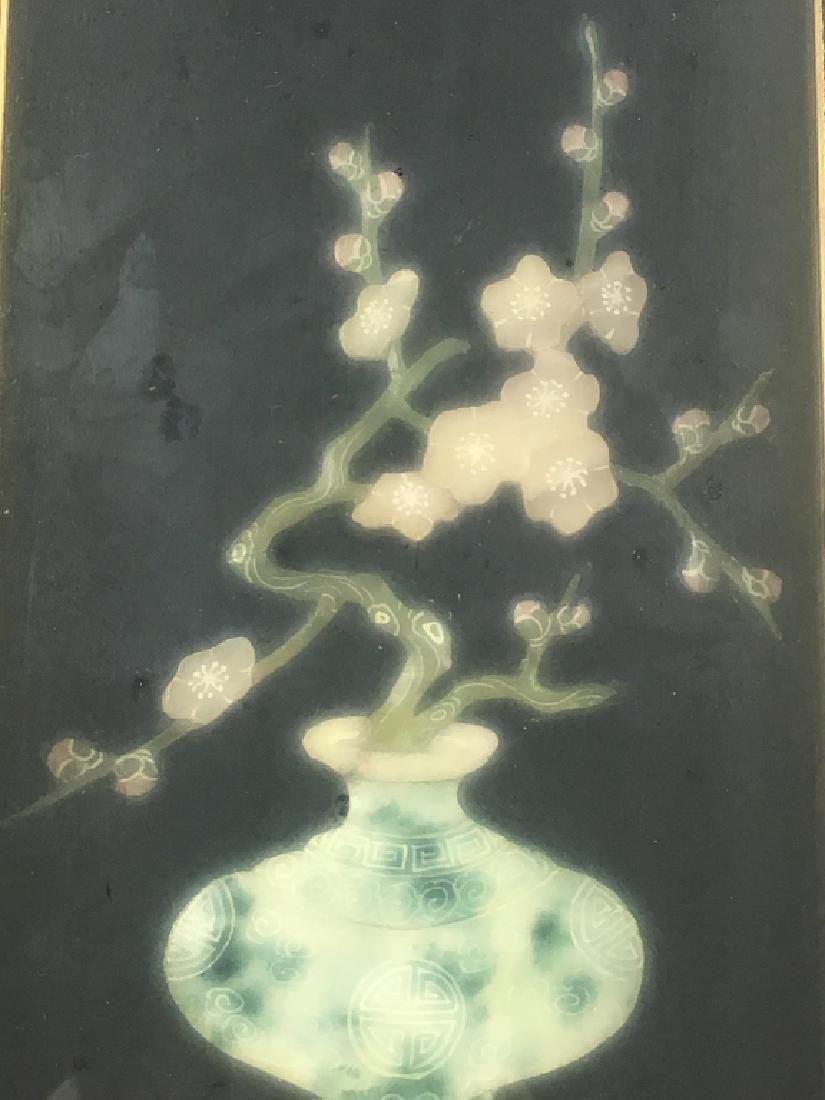 Pair of Gilt Framed Mounted Jade Urns w/ Flowers - 8