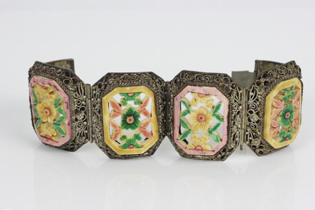 Chinese Metal Bracelet w Colored Bone Inserts