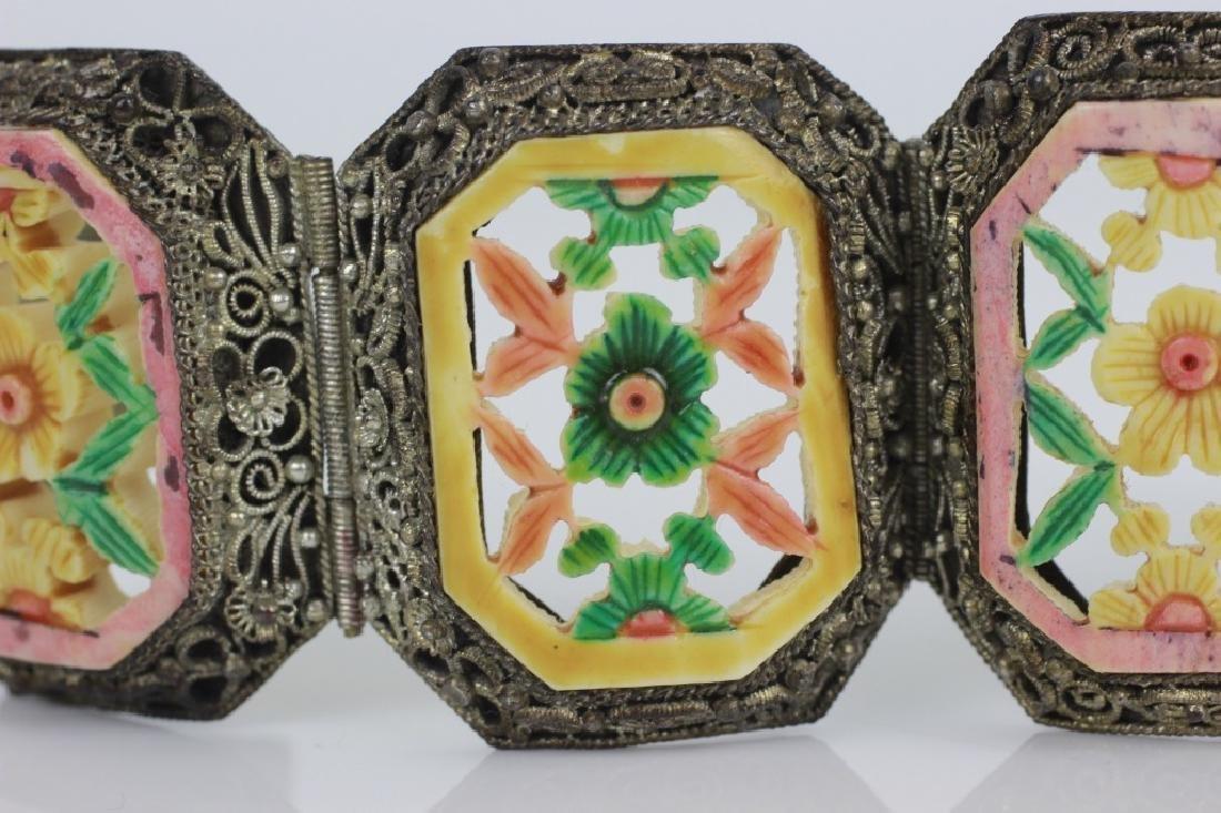 Chinese Metal Bracelet w Colored Bone Inserts - 2