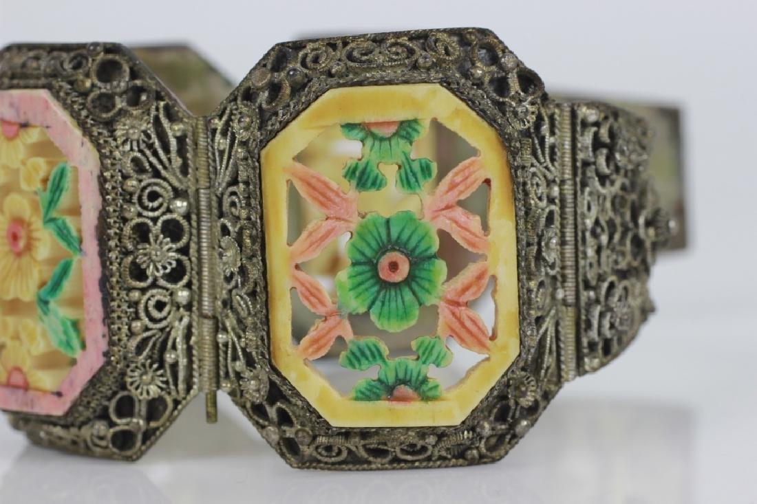 Chinese Metal Bracelet w Colored Bone Inserts - 4