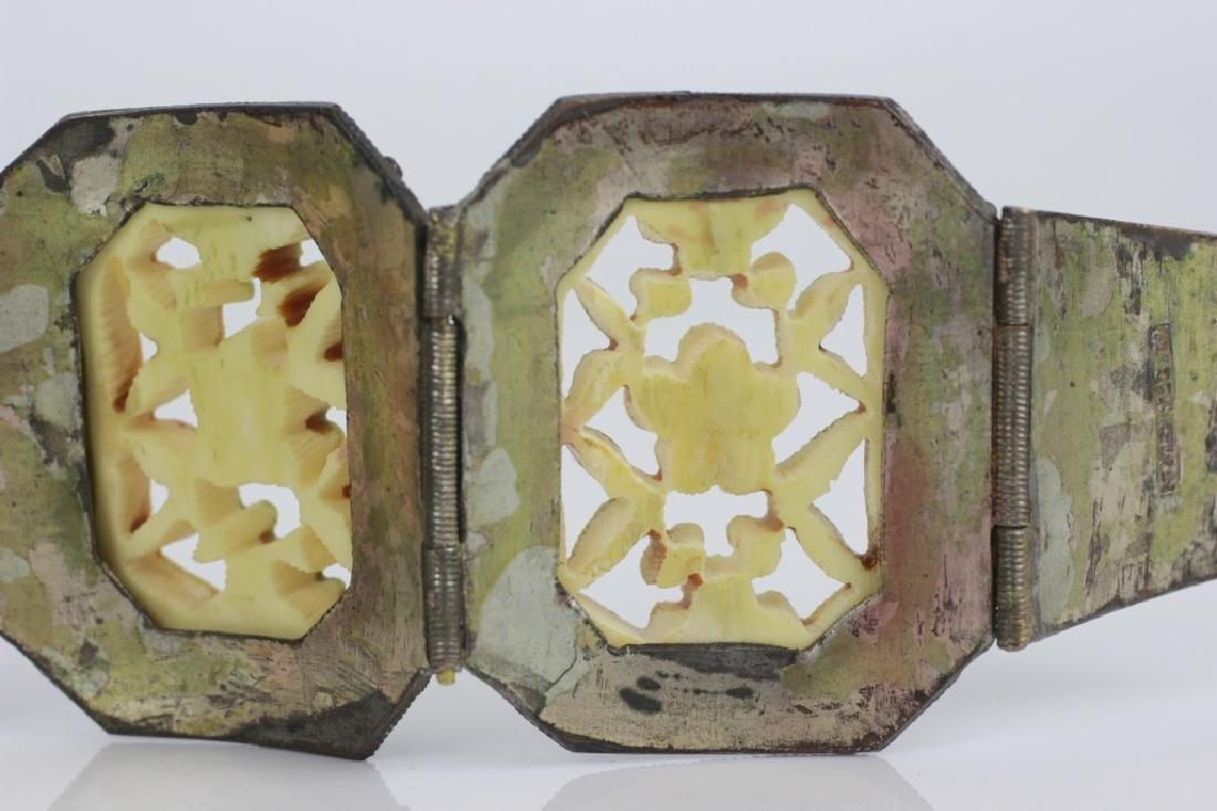 Chinese Metal Bracelet w Colored Bone Inserts - 5
