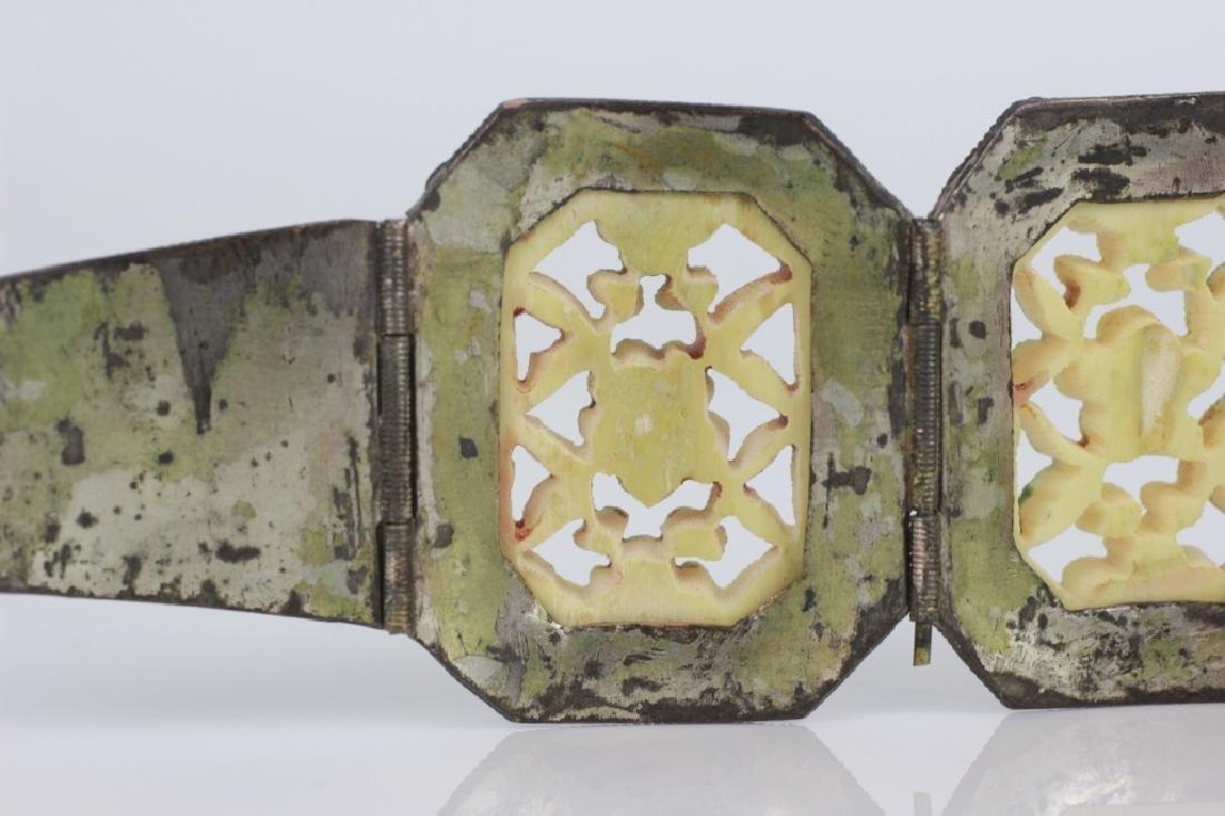 Chinese Metal Bracelet w Colored Bone Inserts - 6