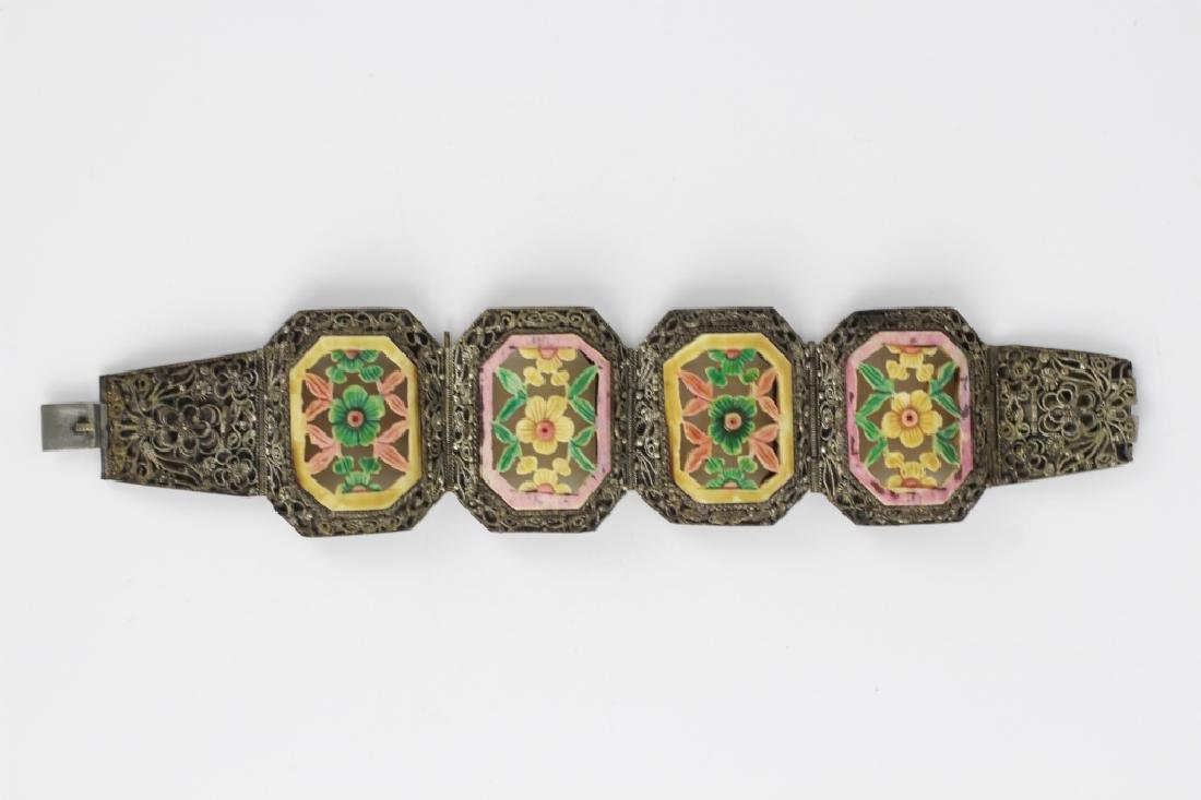 Chinese Metal Bracelet w Colored Bone Inserts - 8