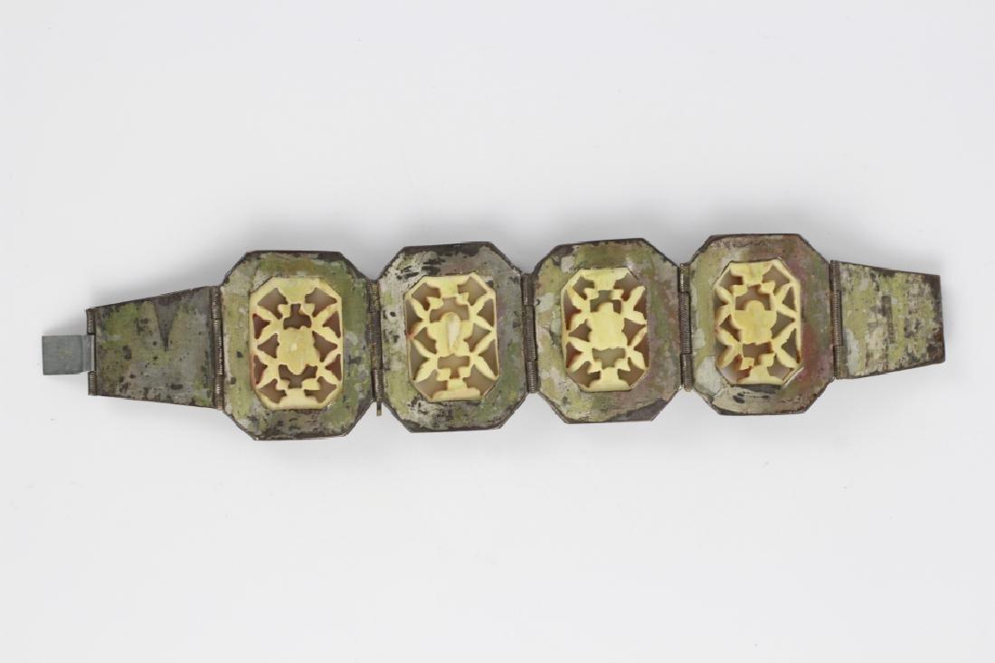 Chinese Metal Bracelet w Colored Bone Inserts - 9