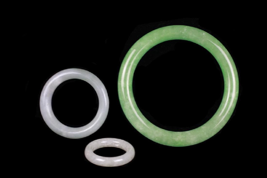 1 Chinese Green Bracelet & 2 Small Round Objects