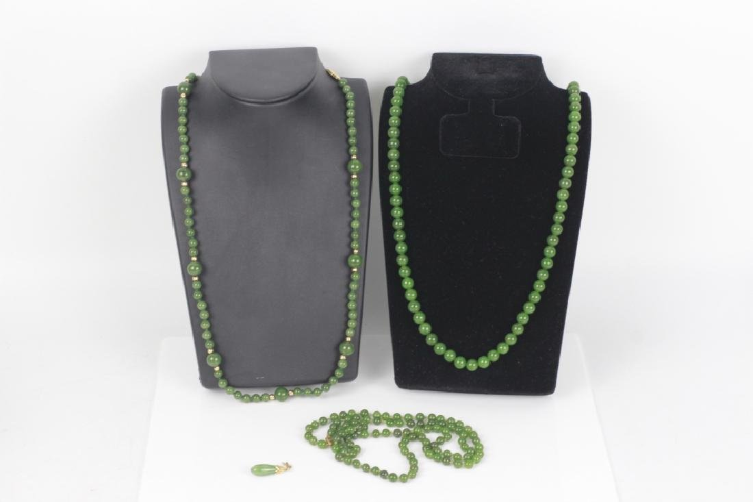 3 Jade or Hardstone Necklaces, All w/ Gold Mounts